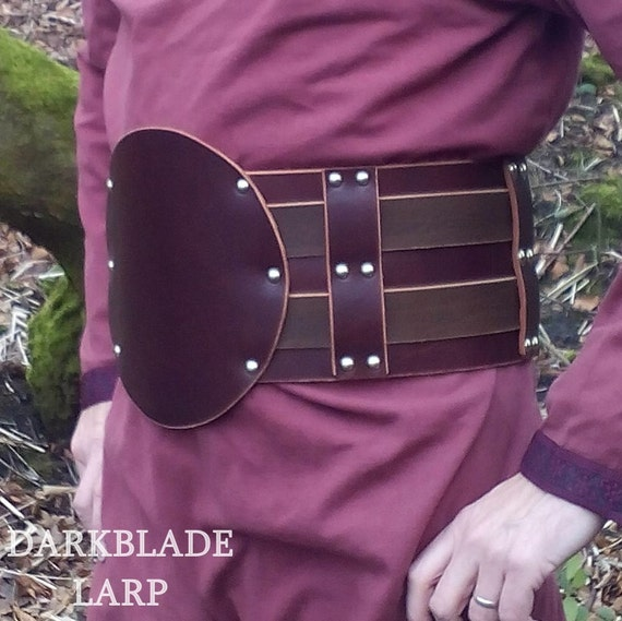 Hero Belt in Heavy Leather for Larp or Cosplay, Gladiator, Barbarian or Viking Costume.