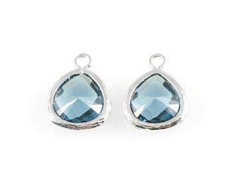 2pcs Montana Blue Faceted Glass Charm in Rhodium, Framed Glass Gem / Birthstone / September / Sapphire / 10.5mm x 14mm / GMBRH-003-P (Small)