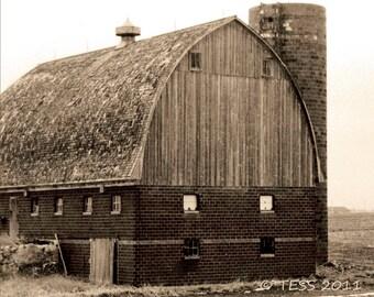 Sepia Brick Barn Photo - Old Barn Photographic Print -  Rustic - Iowa Barns