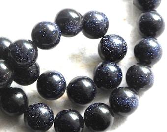 "Blue Goldstone 8mm Round Smooth Beads (one strand) Dark Navy Blue with Copper flecks ""Starry Night"""