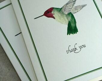 Hummingbird Thank You Notecards, Boxed Set of 8, Handmade Greeting Cards