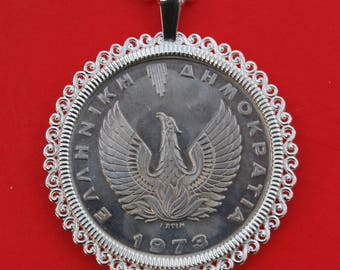 1973 Greece 20 DRACHMAI BU Uncirculated Coin 925 Sterling Silver Necklace NEW - Phoenix