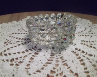 Vintage 50's-60's Aurora Borealis Clear Irridescent Crystal Bead Silvertone Wire Cuff Bracelet