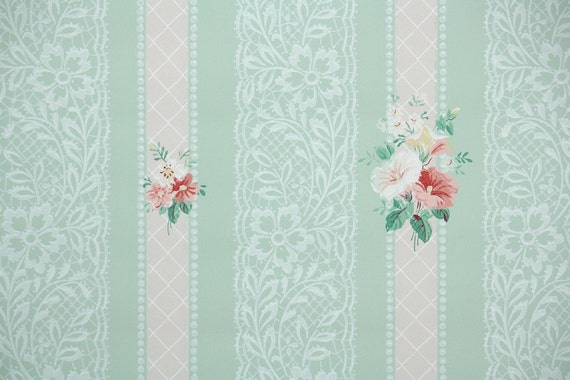 1940s vintage wallpaper pink flowers on pastel green with mightylinksfo