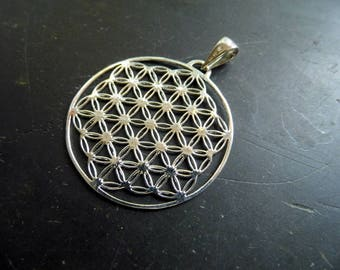 Pendant, Flower of life, sterling silver, sacred geometry, symbol, protection