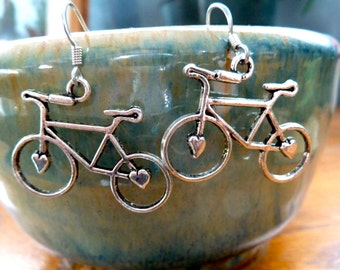 Silver Bicycle Earrings - Bike Earrings - Bike Lover - Dangle Bike Earrings - Road Bike Earrings - Bike Jewelry - Cyclist Earrings Athletic