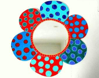 """Mirror""""Fleur""""diam.65 cm red blue Yayoi"""