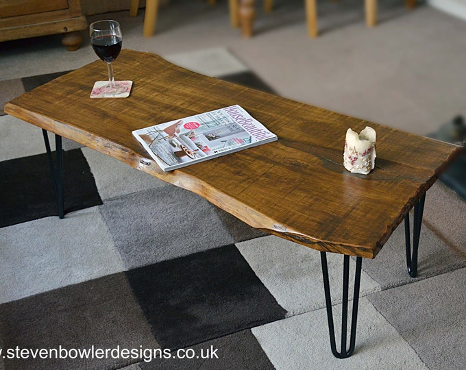 NEW IN STOCK Rustic Country Cottage Slab Top Style Coffee Table Medium Oak Stain with Elegant 3 Rod Satin Black Metal Hairpin Legs