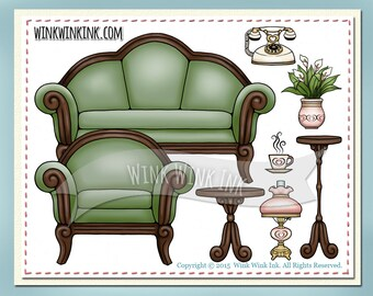 Digital Stamp - Grandma's Parlor Set - Furniture and accessories - 8 different images!