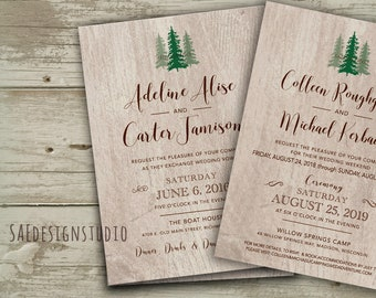Colorado Woods Mountains Pine Trees Forest Camping Destination Wedding Invitations Invites Outdoors Weekend Woods Destination Navy Coral