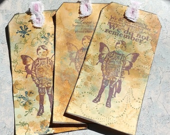 Hand Stamped Vintage Ephemera Tags