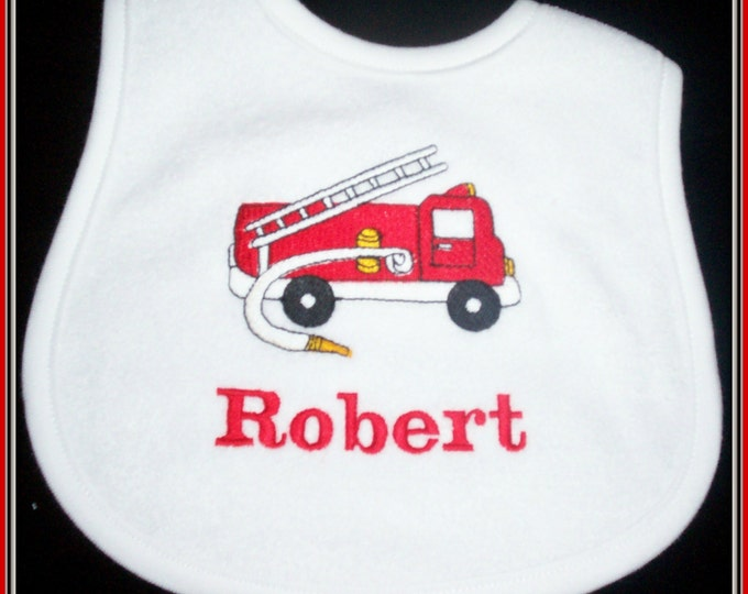 Fire truck baby bib personalized, baby bib personalized, fireman baby bib, fire truck personalized bib, shower gift, fire fighter baby gift