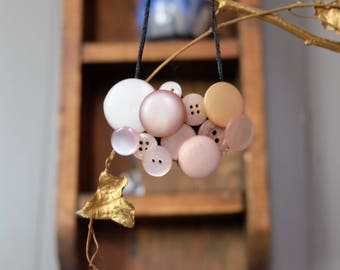 Subtle Pinks Handmade Button Necklace- Great Gift for Mom