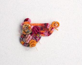 Colorful cluster pin brooch, fiber art jewelry, orange pink, OOAK