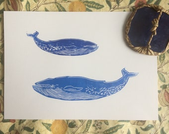 A4 Blue Whale Linoprint on recycled paper