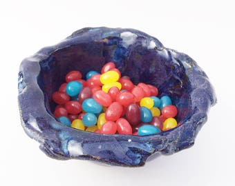 Ceramic Wonderful Crinkly Bowl, Purple Blue Black, Rustic, Primitive, Wabi Sabi. Asymmetrical, Aubergine, Jelly Bean Bowl