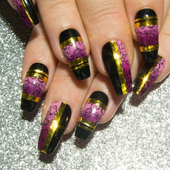 Coffin False Nails Long Fake Nails Black Press On Nails