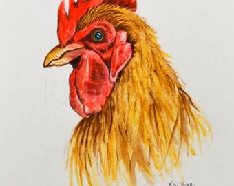 Chicken original watercolor painting, brown chicken, kitchen art