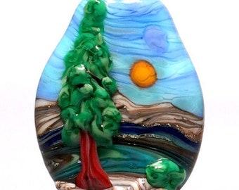 The Tree - Reversible Handmade Lampwork Glass Focal Bead Pendant - SRA