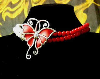 Butterfly red white Choker