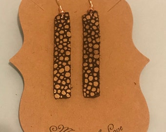 Brown/Rose gold thin dangle leather earrings