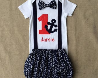 First Birthday Anchor Outfit , Nautical  Smash Cake outfit , Anchor bodysuit with diaper cover