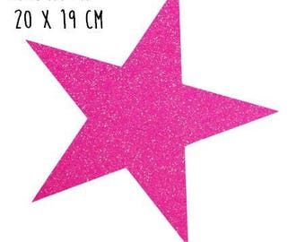 Star pattern fusible thin 20 x 19 cm neon pink glitter