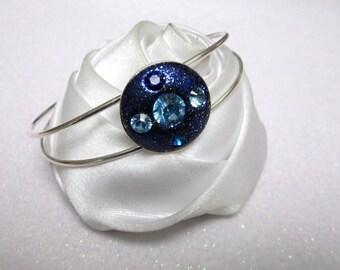 Midnight Blue bracelet glitters and Crystal rhinestones