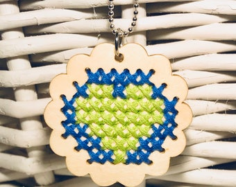 Wooden cross stitch Heart pendant necklace // Valentines Day // Green Heart on Blue