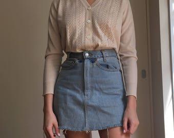 Beige V-neck cardigan/sweater, S-M