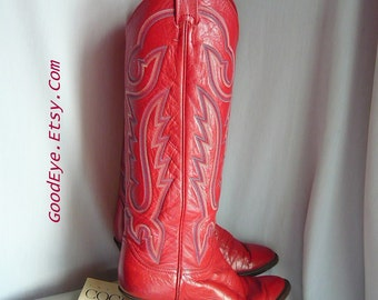 Ladies RED Leather Cowboy Boots / size 6 .5 Eur 37 Uk 4 C-Width / Vintage LARRY MAHAN / Knee Length Western Flame Stitched