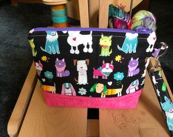 Dog Knitting Bag, Project Bag, Zippered Crochet Bag, Zipper Project Bag, Sock Knitting Bag, Sock Project Bag