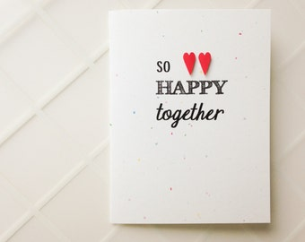 Handmade Wedding Card - So Happy Together - Congratulations Newlyweds