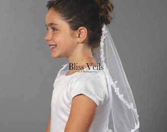 Lace Communion Veil, Holy Communion Veil, First Communion Veil, Baptism Veil, Fast Shipping!