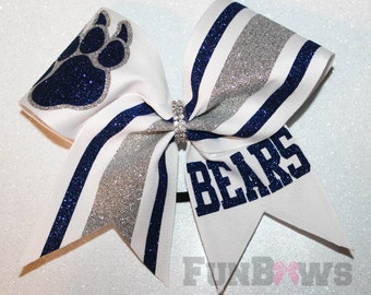 Custom Mascot Cheer School Team Glitter Hairbow  by FunBows !!