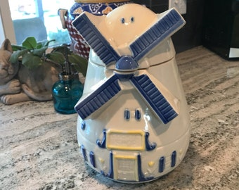 FAPco Windmill Cookie Jar 1960's Collectible with Blue Trim Used Condition  Item #589676652