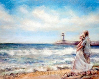 """beach painting  romantic Couple Ocean  lovers hug Canvas or paper print """"I Would Rather Be Here"""" Laurie Shanholtzer"""