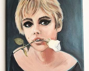 A rose for Edie, original portrait of a beautiful sixties icon.