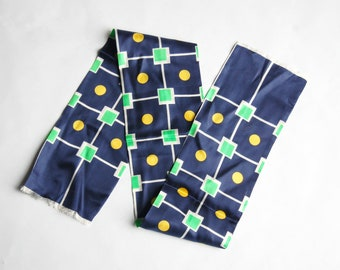 Vintage 1960s Navy Blue, Neon Green, Yellow Geometric Print Scarf with Fringe Ends / Head Scarf