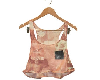 Pink Collage Print 70s Love n Birds Fabric Crop Top with Black Vintage Scrap Leather Pocket size M