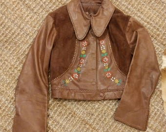 Vintage 70's 1970's 70s Char Mexico Mexican hand painted brown leather suede whipstitch crop cropped jacket bell sleeves hippie boho 34 S M