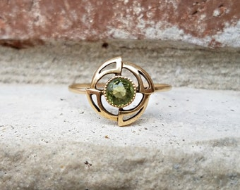 Antique Art Nouveau or Arts & Crafts Era Peridot Stick Pin Ring Conversion; Upcycled Ring, Repurposed Ring, August Birthstone