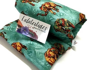 FLAX HEATING PAD,  Microwavable,Tribal elephant, Choice of brushed Flannel and cotton washable covers, Flax seed Bag, Christmas Gift for her