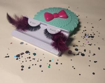 Feather Eyelashes - Custom Made with Eyelash Case - Purple / Turquoise / Red / Yellow / Blue