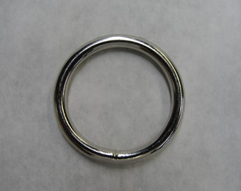 "lot of 100 metal O-rings welded nickel plated high quality 3/4"" 1"" 1-1/4"" 1-1/2"" silver/chrome Leather Craft Heavy Duty"