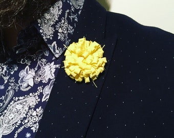 Mens Yellow Lemon Mens Lapel Pin Flower Wedding Boutonniere Groomsmen Lapel Pin - As Seen in GQ July 2017