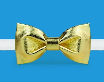 Gold Bow tie- Golden Bow tie -Leather Bow tie - Metallic Bow tie - Classic bowtie