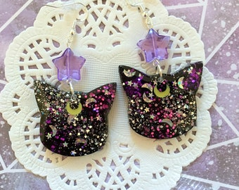 Luna Galaxy Cat Resin Earrings
