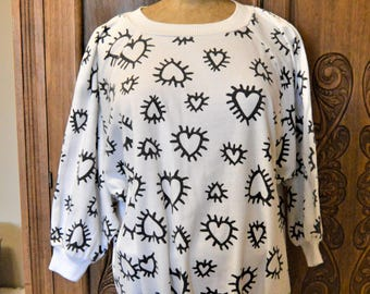 """80's Radiant Black Hearts on White Sweatshirt,Pop Art Graphics,Batwing sleeves,Hip Hop,by Judy Knapp up to 50"""" chest"""