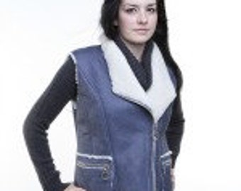 Ladies sheepskin sleeveless vest